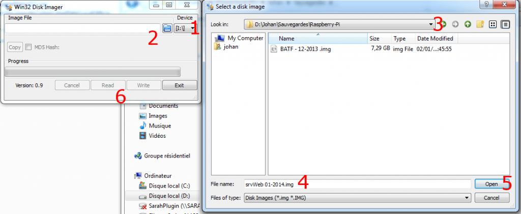 savegarde carte SD raspberry-pi avec Win 32 Disk Imager