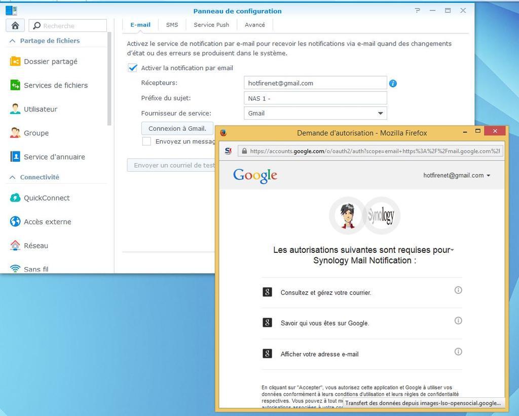 Demande de connexion au service Gmail.
